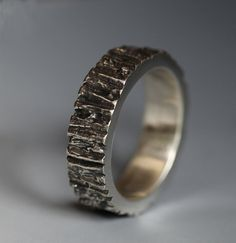 Men's Tree Trunk ring, sterling silver
