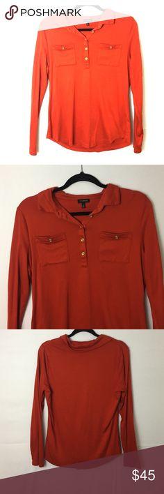 ✨SALE✨ Talbots Blouse Top is deep orange-red. Talbots Tops Tees - Long Sleeve