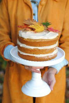 Salty pumpkin spice cake with caramel cream cheese frosting