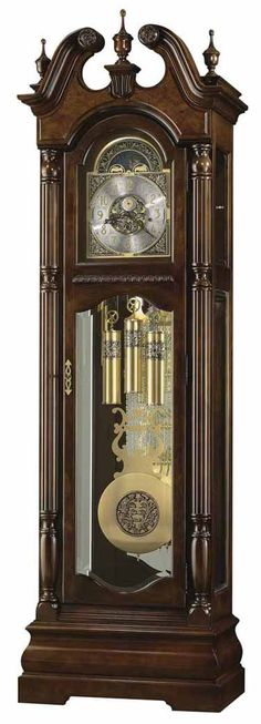 <p> Special 82nd Anniversary Limited Edition cherry grandfather clock finished in Cherry Bordeaux features a swan neck pediment with book-matched olive ash burl overlays and three turned urn finials. Brushed satin brass finished dial and a functional moon phase. Multi-tiered carved bombe base. Locking door and Glass mirrored back.<br /> Cable-driven, triple chime Kieninger m...