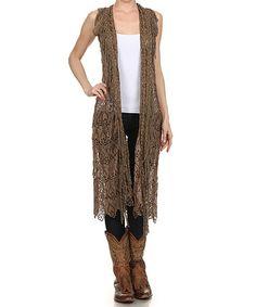 Look at this #zulilyfind! Mocha Crochet Vest - Women & Plus by L & B #zulilyfinds