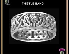 Wild Thistle Interlace Ring Celtic Band Wedding Ring - Sterling Silver