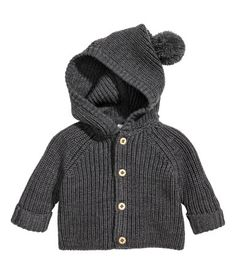 Dark gray melange. BABY EXCLUSIVE/PREMIUM QUALITY. Rib-knit cardigan in the softest merino wool. Hood with pompom at top, buttons at front, and long raglan