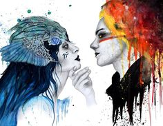 """""""Of Ice and Fire"""" an A3 watercolor painting, which represents the dualism innate in every relationship. .  @artists.cradle I'm an Estonian artist living in Spain. .  #art #artist #artistic #artists #arte #dibujo #myart #artwork #illustration #graphic #color #colour #colorful #painting #drawing #drawings #markers #paintings #watercolor #watercolour #ink #creative #sketch #pencil #cs6 #photoshop #beautiful #artistscradle"""