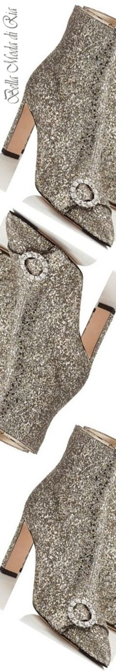 Jimmy Choo Glitter Fabric Bootie With Crystal Buckle
