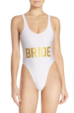 Free shipping and returns on Private Party 'Bride' One-Piece Swimsuit at Nordstrom.com. A retro-inspired swimsuit sits high above your hips to elongate your legs and features an open back with a cheeky bottom for a flirty finish.