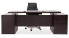 Ford Executive Modern Desk with Filing Cabinets - Dark Wood Finish   Zuri Furniture