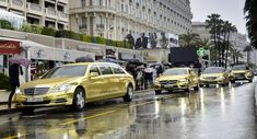 Mercedes Greets Cannes International Film Festival Guests with a Fleet of Gold-Wrapped Limos Dubai Cars, Combustion Engine, International Film Festival, Limo, Cannes, Mercedes Benz, Classic Cars, Automobile, Street View