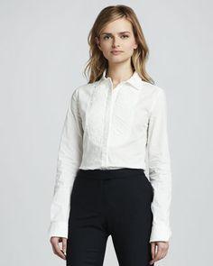 Rachel Zoe Janette Short-Sleeve Leather Blouse, Beatrice Long-Sleeve Blouse & Julietta Cropped Riding Pants - Neiman Marcus