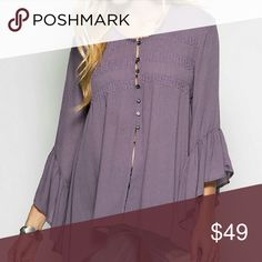 Lavender tunic top Lavender tunic top with bell sleeve She and Sky Tops Tunics
