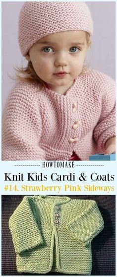 Strawberry Pink Sideways Cardigan Free Knitting Pattern - #Knit Kids #Cardigan Sweater Free Patterns