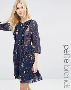Image 1 of Vero Moda Petite Floral Ruffle Front Dress