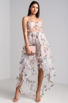3/15/18  Print: Floral Print Material: Polyester Occasion: Prom Dress Dress Length: Cocktail Shoulder: Adjustable Straps Skirt: High-Low-Hem Embellishments: Built-in Bra Embroidered Flower(s) Lined Mesh Overlay Sheer