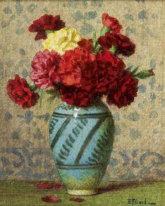 ernest filliard   Ernest Filliard   1868-1933 - Gekleurde anjers in een vaas