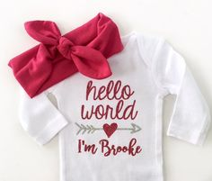 Baby Girl Coming Home Outfit Hello World Girls by MarieCompany