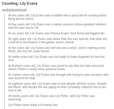 Lily Evans- so so sweet and sad. Crying now...thanks!