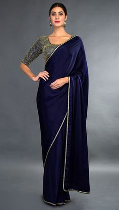 Velvet Saree for Women That Will Give A Royal Look - Buy lehenga choli online Blue Silk Saree, Satin Saree, Royal Blue Saree, Crepe Saree, Chiffon Saree, Silk Saree Blouse Designs, Saree Blouse Patterns, Sari Blouse, Saree Color Combinations