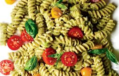 12 ounces whole-wheat fusilli 2 C cherry tomatoes, halved 1/4 t salt 1 T extra-virgin olive oil 1/2 cup packed basil, chopped 2 avocados 3 lg garlic cloves, chopped 1/4 cup lemon juice 1/4 cup grated Parmesan  1/4 t ground black pepper  In bowl, add tomatoes + sprinkle w 1/4 teaspoon salt. Add oil, basil. Set aside. Scoop avocado into empty pasta pot. Mash, Add garlic n lemon juice. Whisk w 1 C. pasta water, creating sauce. Stir in pasta n tomato mixture to coat. Top w cheese, n black…
