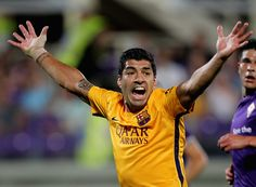 Luis Suarez of FC Barcelona reacts during the preseason friendly match between ACF Fiorentina and FC Barcelona at Artemio Franchi on August 2, 2015 in Florence, Italy.