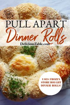 Make-Ahead Dinner Rolls (Pull-Apart Bread) are beautiful and easy to make. Brush with melted butter, and add toppings you love like grated cheeses & herbs! #dinnerrolls #pullapartbread #easydinner #makeahead #partyfood Best Dinner Recipes, Family Recipes, Lunch Recipes, Artisan Bread Recipes, Easy Bread Recipes, Healthy Family Meals, Healthy Snacks, Healthy Recipes, Bread Bowls