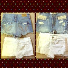 Short shorts--Hollister and Mossimino Size 00 Jean Hollister shorts with cream colored stitching on pockets.  Size 1 white Mossimino shorts with tan braided stitching on sides. Both excellent condition Shorts Jean Shorts