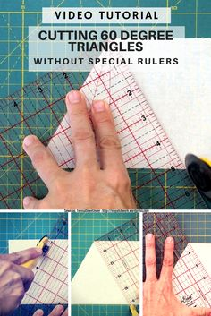 If you don't have a 60 degree ruler but your ruler or your mat has 60 degree markings, this is how you can cut equilateral triangles. How to cut equilateral triangles with a regular ruler This 2 minut Quilting Rulers, Quilting Tips, Quilting Tutorials, Quilting Designs, Sewing Tutorials, Triangle Quilt Tutorials, Triangle Quilt Pattern, Quilt Block Patterns, Triangle Quilts