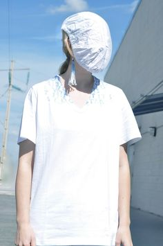 [ Lizzie Lo ] : it's a good start [Maison Martin Margiela boot cover as a mask + AIDS charity tee + cotton bag + dégradé 08 jeans + dégradé 08 cowboy boots]
