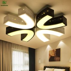 Modern Simple Acrylic Led Chandeliers Lighting Luminaria Hollow Metal Bedroom Led Ceiling Chandelier Fixtures Chandelier Lampara