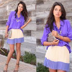 Purple blouse & flouncy pleated skirt