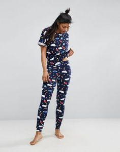 98cd282f3fa ASOS Space Tee  amp  Legging Pyjama Set Sleepwear Women