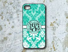 iPhone 4 Cover, iPhone 4s case, Monogrammed  Smartphone Cover, Personalized, Teal Damask (1092). $14.95, via Etsy.