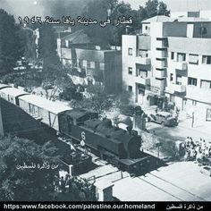 Train crossing Allenby Street, in Tel Aviv, 1946