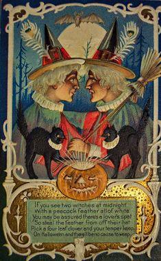 Vintage Halloween Postcards | vintage everyday: Vintage Halloween Witch Postcards, c. 1900's