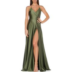 Olivia Evening Gown ❤ liked on Polyvore featuring dresses, gowns, low cut back dress, form fitting evening gowns, high slit dress, jersey gown y jersey knit dress