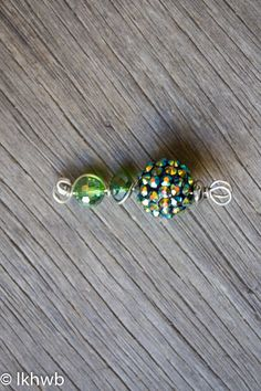 Vintage Rhinestone Bead Pendant, Wire Wrapped, OOAK, Silver Wire, Vintage Paste Beads, Green Yellow Blue, Nature, Elegant, Statement Piece by DoubleEweBee on Etsy