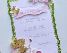 Girl's Fairy Butterfly Birthday Invitaiton by propshopboutique Garden Birthday, Fairy Birthday Party, 1st Birthday Girls, First Birthday Parties, Tangled Birthday, Butterfly Party, Butterfly Birthday, Fairy Invitations, Birthday Invitations
