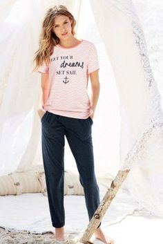 Buy Stripe Slogan Pyjamas from the Next UK online shop Sunday Outfits, Night Suit, Cotton Pyjamas, Pajamas Women, Nightwear, Pajama Set, Lounge Wear, What To Wear, T Shirts For Women