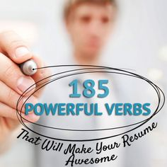 Career Guidance - 185 Powerful Verbs That Will Make Your Resume Awesome - essentially a work thesaurus Resume Help, Job Resume, Resume Tips, Resume Review, Cv Tips, Resume Ideas, Resume Power Words, Cover Letter For Resume, Cover Letters