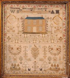 Sampler - Rossina Braid has declared herself, not once but twice, the make of this sampler at age 12. Dated 1825, it is a George IV sampler of Scottish origins, displaying the typical rows of initials above a fine two-storey house, with the distinctive band below.