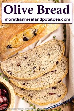 A no-fail homemade olive bread flavored with fresh thyme and sliced Kalamata olives. Create this fresh baked bread with our simple recipe! #morethanmeatandpotatoes