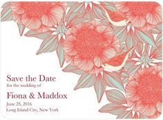 We love the beautiful illustrations on this Save the Date. Detailed flowers and subtle birds create a gorgeously textured image.