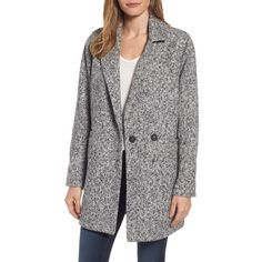 Women's Steve Madden Melange Notch Collar Coat (€64) ❤ liked on Polyvore featuring outerwear, coats, heather grey, tweed coats, tweed wool coat, steve madden and steve madden coats