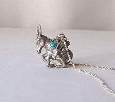 Vintage Pewter Donkey Pendant Necklace Turquoise by CynthiasAttic