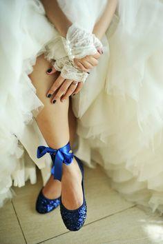 Elegant & Dramatic Sapphire Wedding: Rochelle & Nestle · Rock n Roll Bride Mod Wedding, Dream Wedding, Wedding Lace, Wedding Garter, Wedding Pumps, Wedding Veils, Something Blue, Blue Shoes, Blue Flats