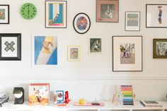The photographs on the wall are original pieces by Dylan.