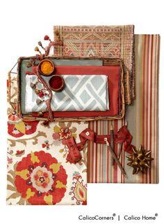 Kaleidoscope Fabric Collection by Calico Corners l Calico Home Interior Design Boards, Beautiful Interior Design, Interior Ideas, Fabric Decor, Fabric Design, Calico Corners, Fabric Combinations, Passementerie, Colour Board
