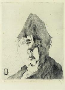 Horst Janssen (Allemagne, 1929-1995) – Self-portrait (1972) Pointe-sèche