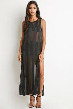 Shadow-Striped High-Slit Maxi Dress