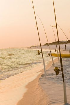 fishing poles at sunset. What would be a better way to end the day? Destin FL  #seasidefishing