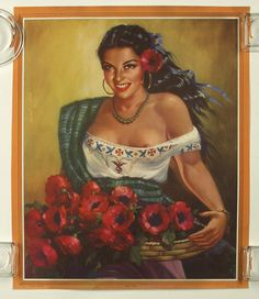 Vintage 1940s Mexican Erotic Provocative Pin Up Poster Abran Paso Village Beauty